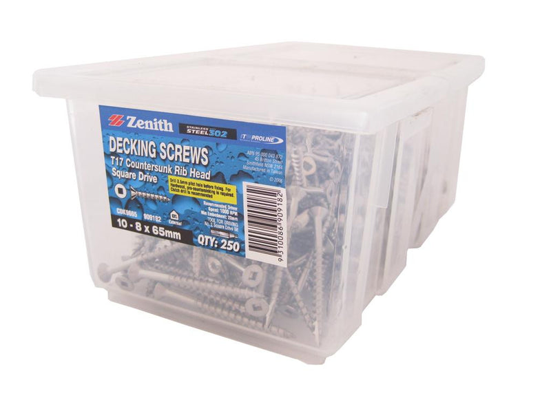 Decking Screws 10G x 65mm SS CS Box of 250