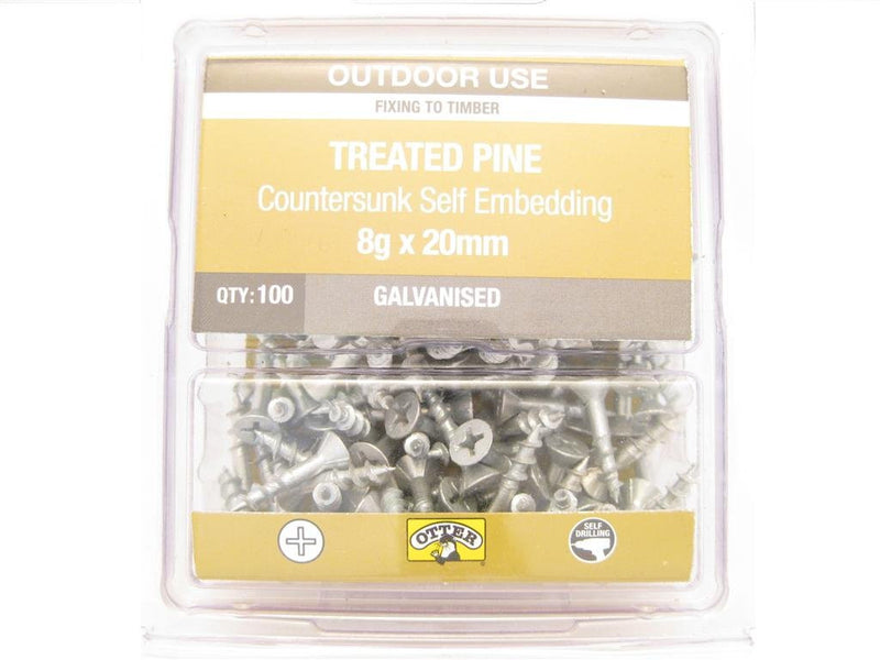 Treated Pine Screws 8G x 20mm Galv CS Pk of 100