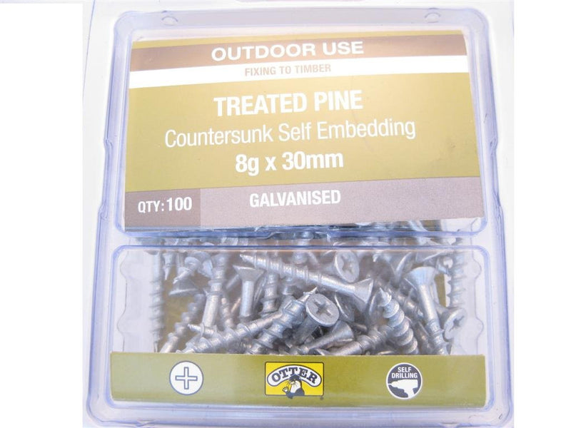 Treated Pine Screws 8G x 30mm Galv CS Pk of 100