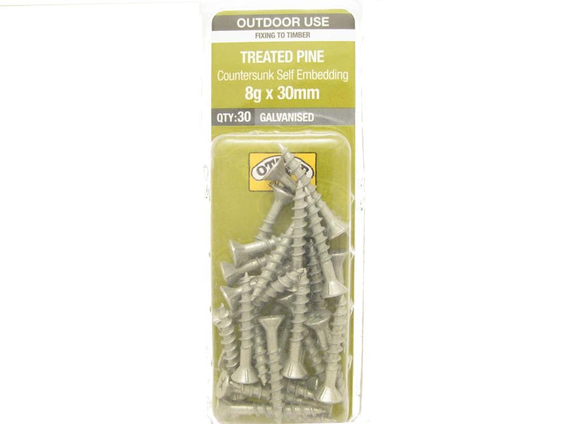 Otter Treated Pine Screws 8G x 30mm Galvanised 30 Pack