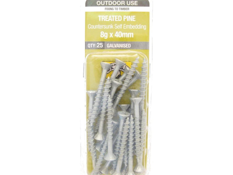 Otter Treated Pine Screws 8G x 40mm Galvanised 25 Pack