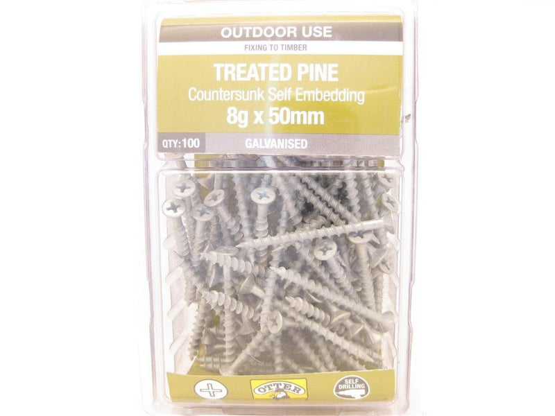Treated Pine Screws 8G x 50mm Galv CS Pk of 100