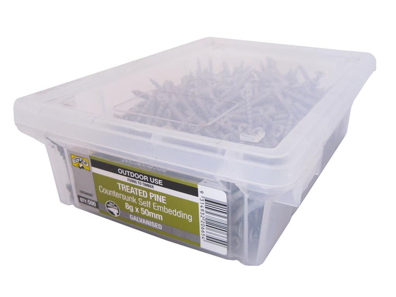 Treated Pine Screws 8G x 50mm Galv CS Box of 500