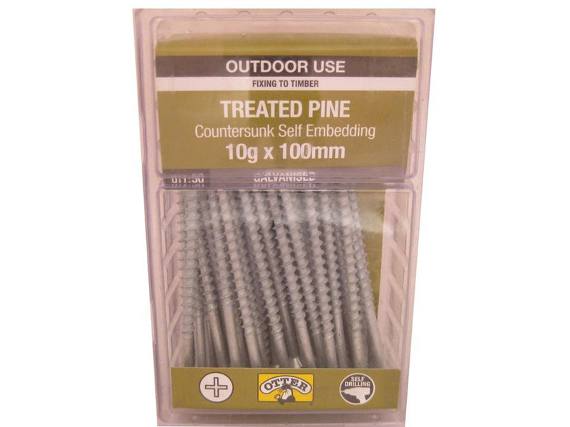 Treat/Pine Screws 10G x 100mm Galv CS Pk of 50