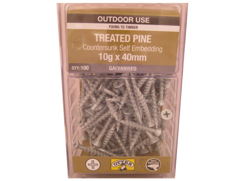 Treat/Pine Screws 10G x 40mm Galv CS Pk of 100