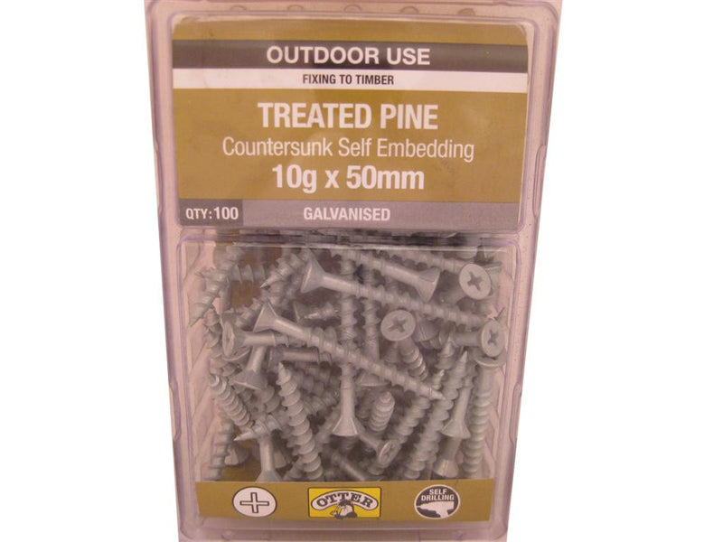 Treat/Pine Screws 10G x 50mm Galv CS Pk of 100