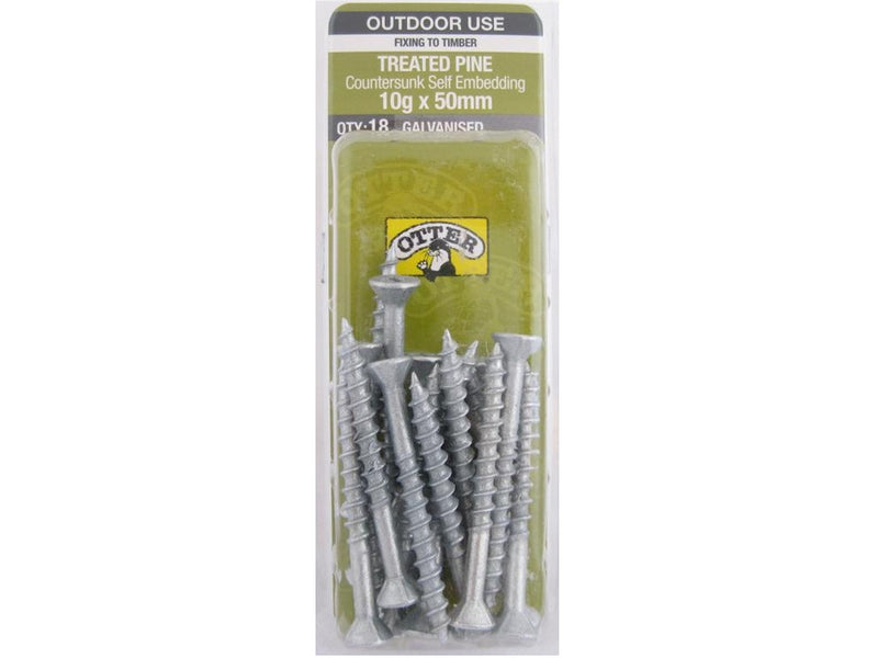 Otter Treated Pine Screws 10G x 50mm Galvanised 18 Pack