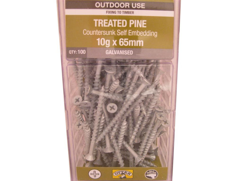 Treat/Pine Screws 10G x 65mm Galv CS Pk of 100