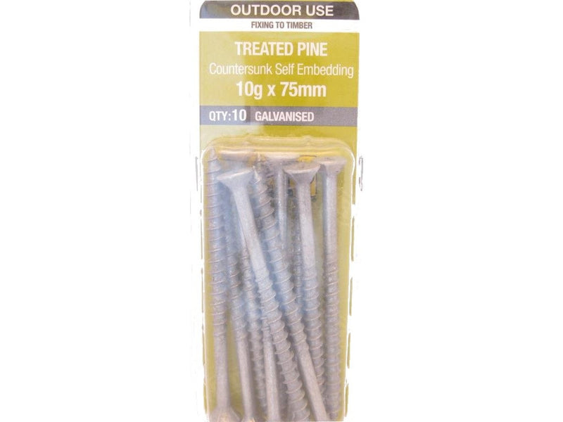 Otter Treated Pine Screws 10G x 75mm Galvanised 10 Pack