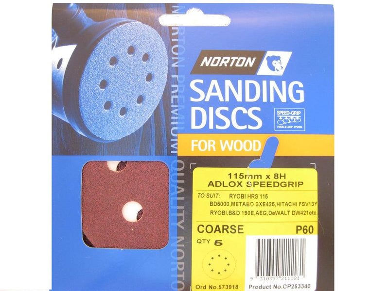 Norton Sanding Discs for Wood 115mm x 8 Hole 60G Pack of 5