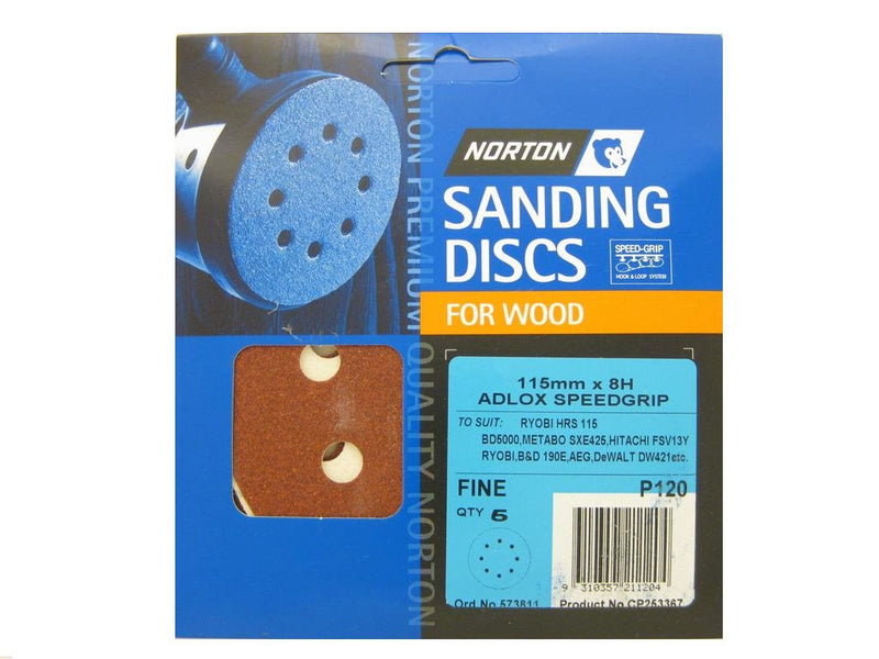 Norton Sanding Discs for Wood 115mm x 8 Hole 120G Pack of 5