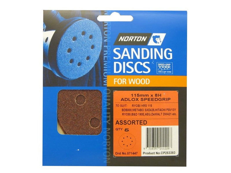Norton Sanding Discs for Wood 115mm x 8 Hole Assorted Pack of 5