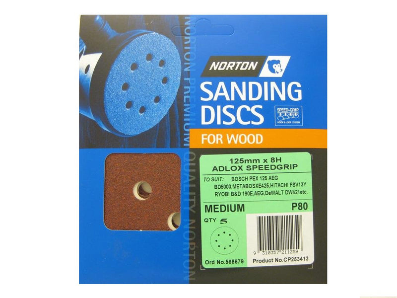 Norton Sanding Discs for Wood 125mm x 8 Hole 80G Pack of 5