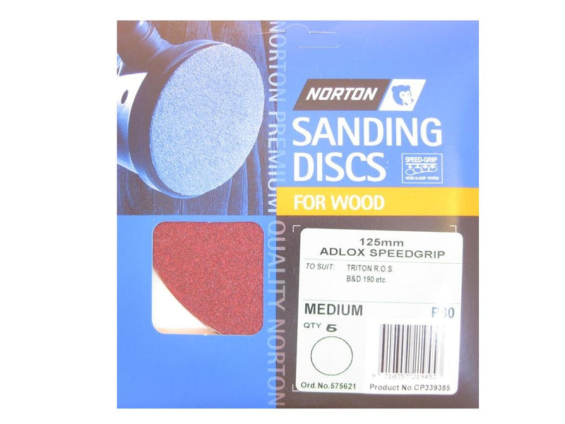 Norton Sanding Discs for Wood 125mm x No Holes 80G Pack of 5