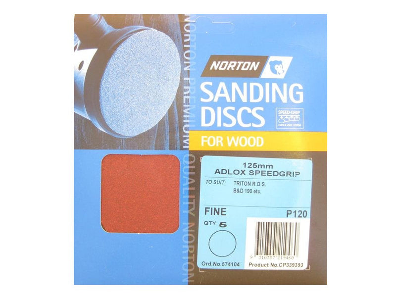 Norton Sanding Discs for Wood 125mm x No Holes 120G Pack of 5