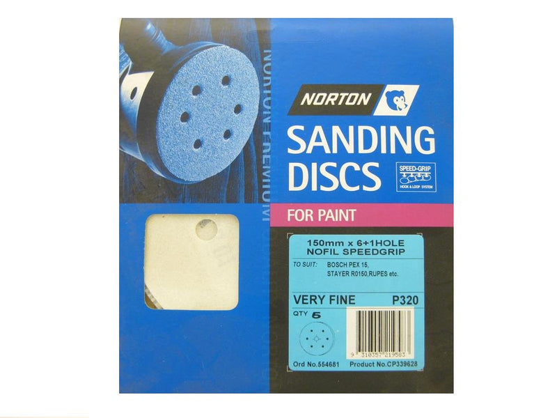 Norton Sanding Discs for Paint 150mm x 6+1 Hole 320G Pack of 5