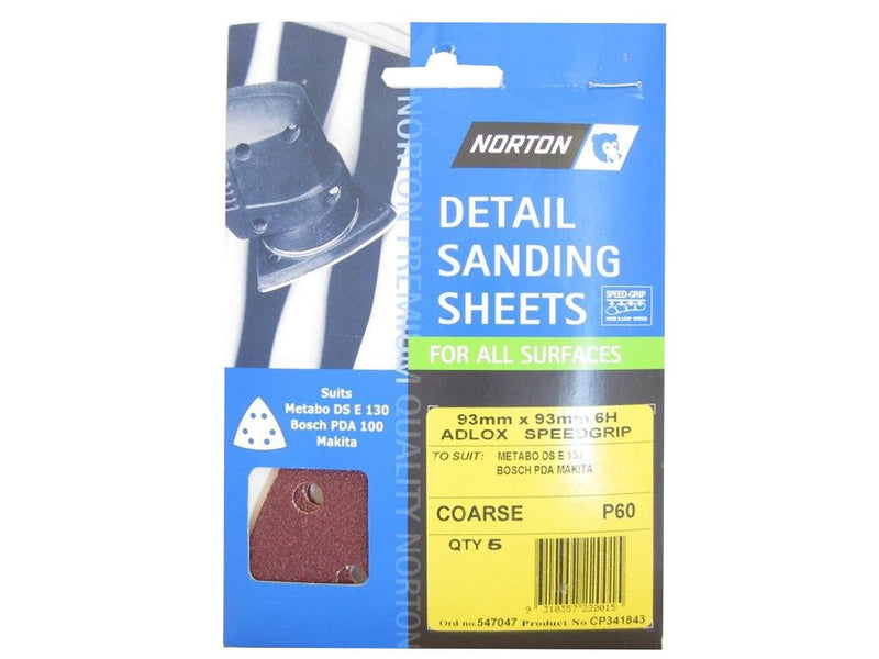 Norton All Surface Detail Sanding Sheets 93mm 60G