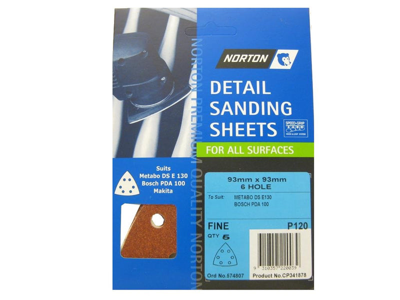 Norton All Surface Detail Sanding Sheets 93mm 120G
