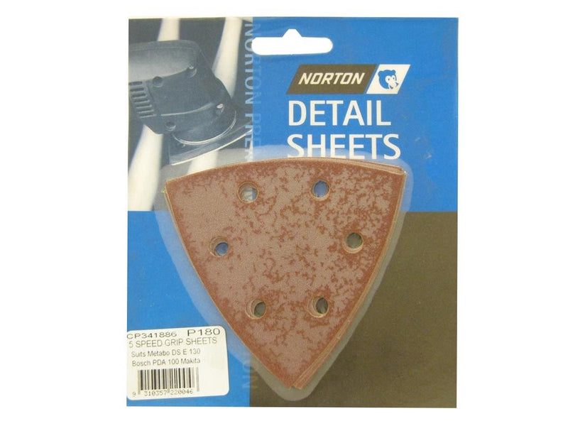 Norton All Surface Detail Sanding Sheets 93mm 180G
