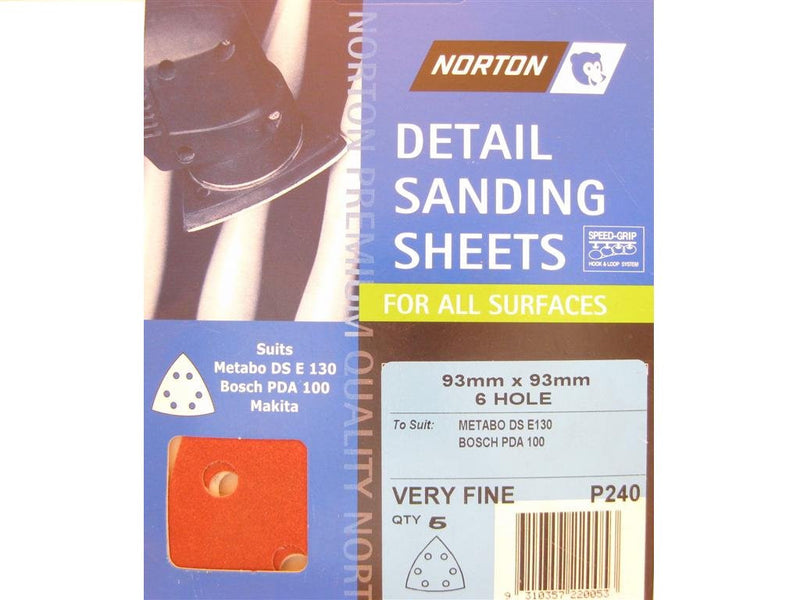 Norton All Surface Detail Sanding Sheets 93mm 240G