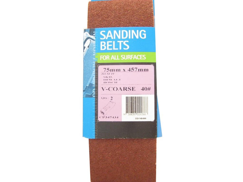 Norton Cloth Sanding Belt 75mm x 457mm 40G Pack of 2