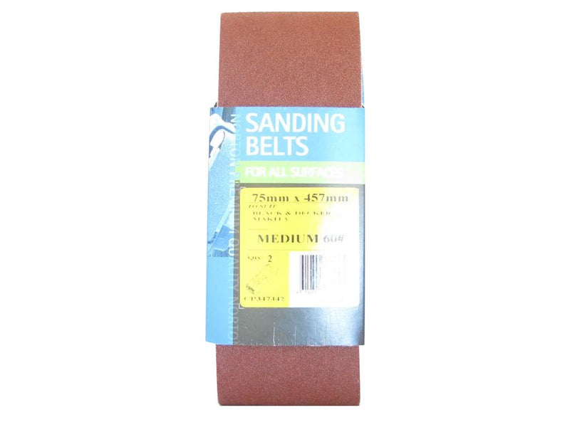 Norton Cloth Sanding Belt 75mm x 457mm 60G Pack of 2