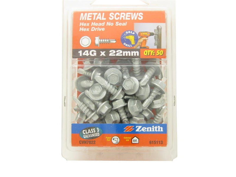 Metal Screw 14G x 22mm C3 Hex Head Pk of 50