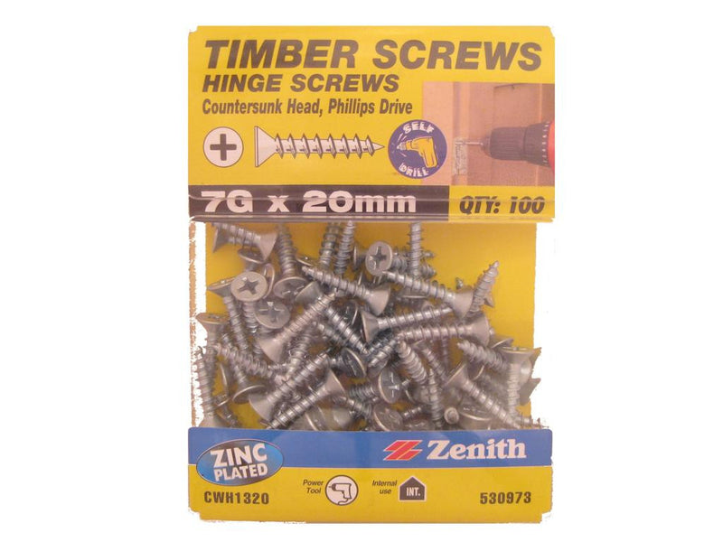 Hinge Screws 7G x 20mm ZP CS Pack of 100