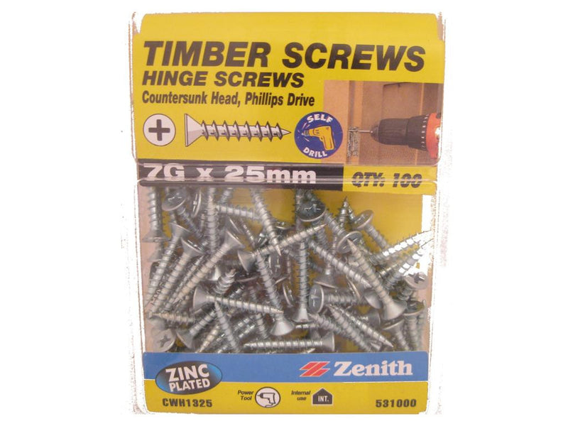 Hinge Screws 7G x 25mm ZP CS Pack of 100