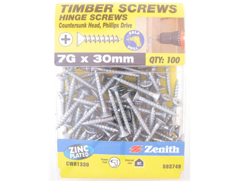 Hinge Screws 7G x 30mm ZP CS Pack of 100