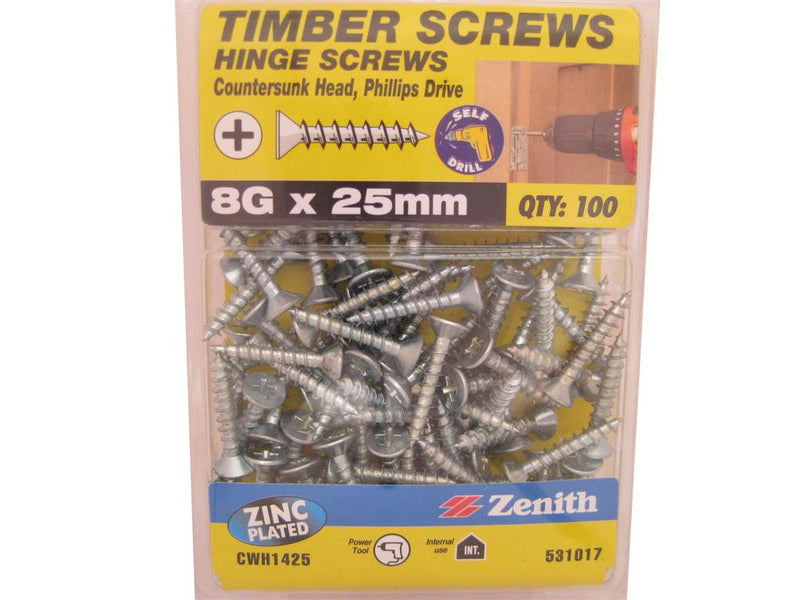 Hinge Screws 8G x 25mm ZP CS Pack of 100