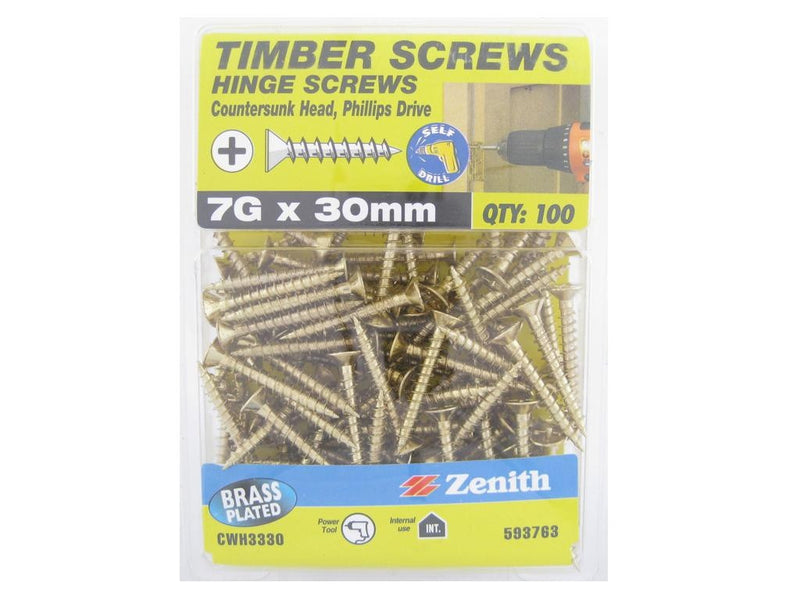 Hinge Screws 7G x 30mm BP CS Pack of 100