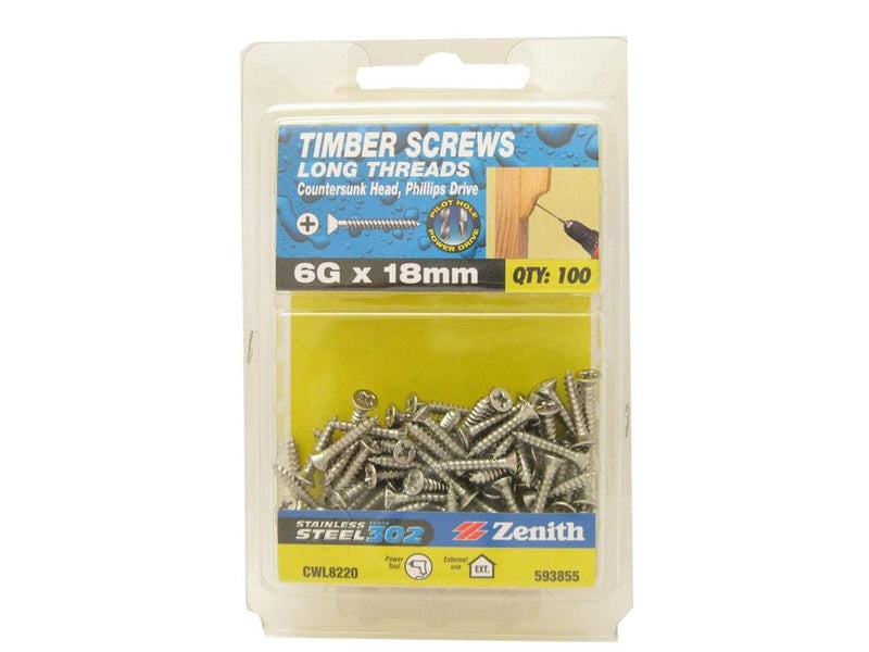 L/THR Screws 6G x 18mm SS 302 CS Pack of 100