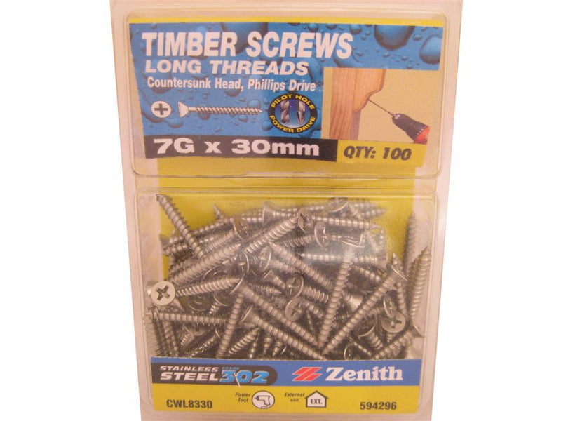 L/THR Screws 7G x 30mm SS 302 CS Pack of 100