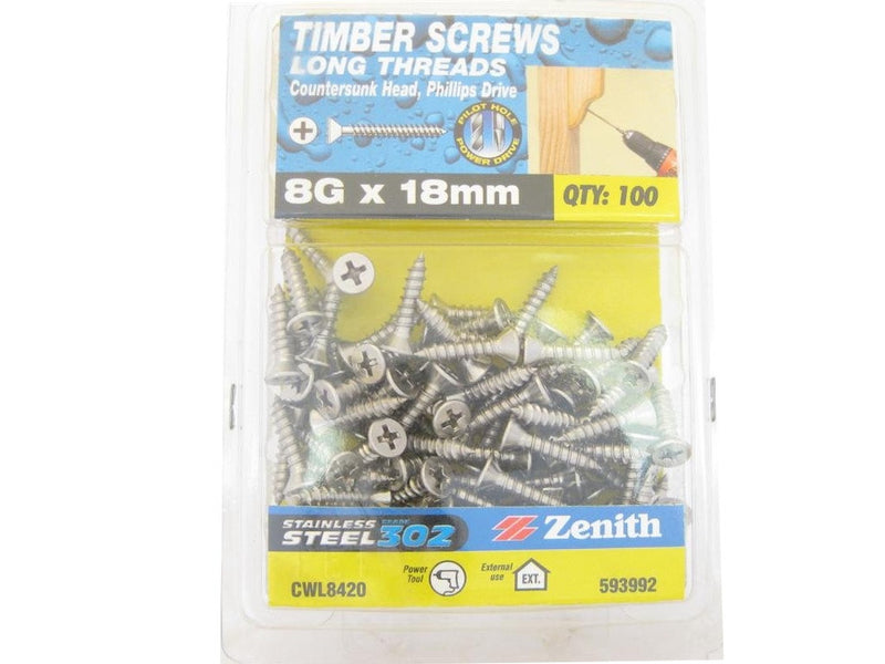 L/THR Screws 8G x 18mm SS 302 CS Pack of 100