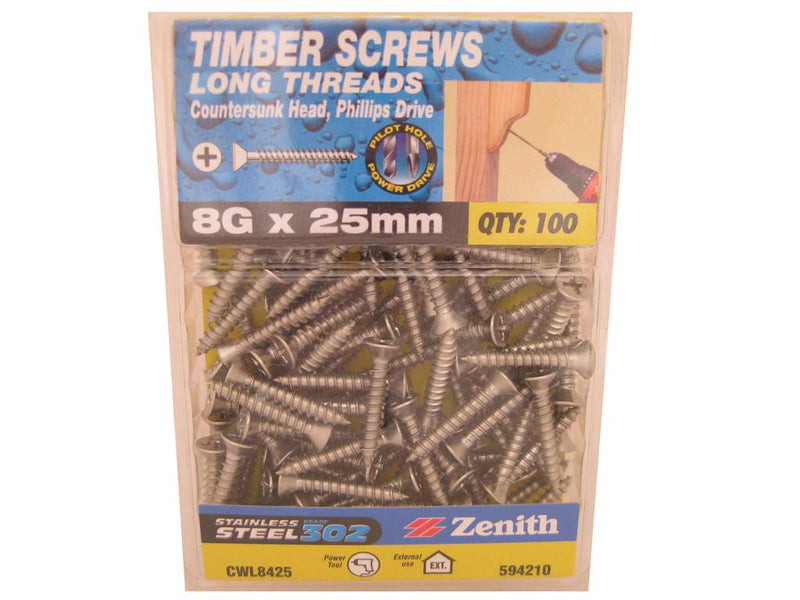 L/THR Screws 8G x 25mm SS 302 CS Pack of 100