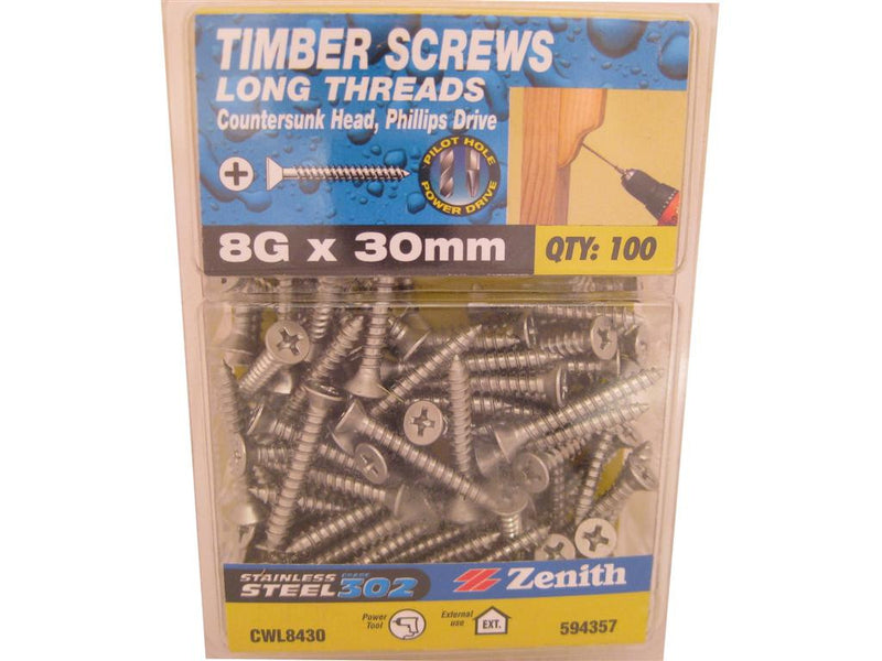 L/THR Screws 8G x 30mm SS 302 CS Pack of 100