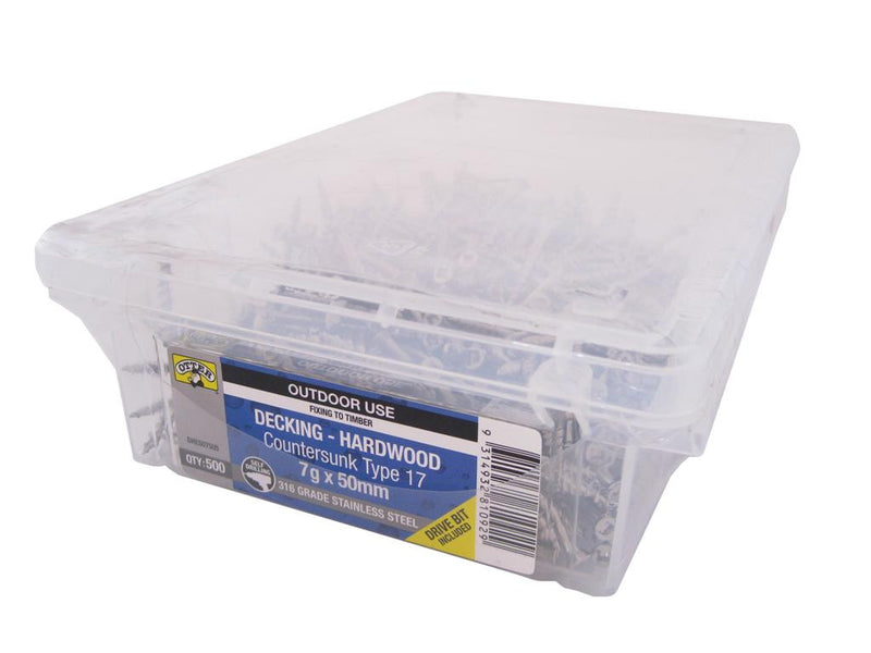 Decking Screws 7G x 50mm SS Box of 500