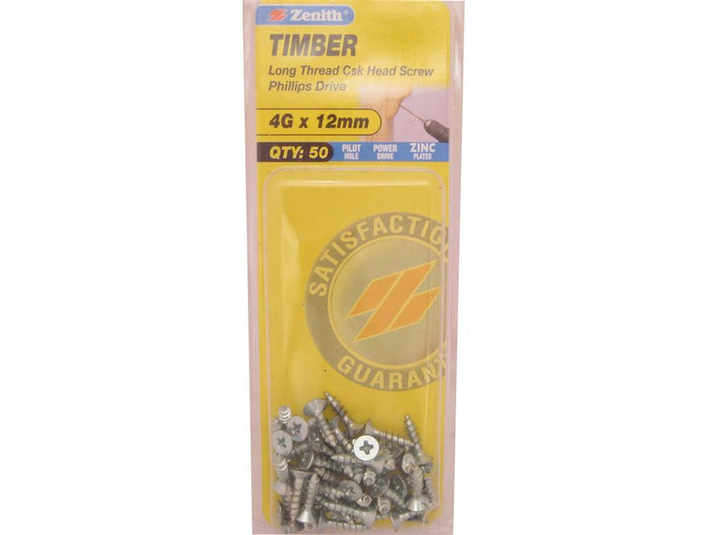 Zenith Timber Screws 4G x 12mm Zinc Plated 50 Pack
