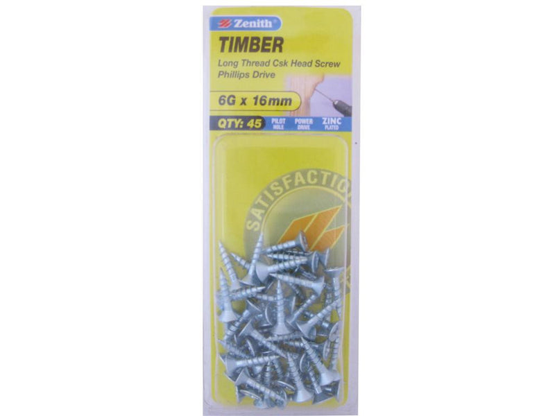 Zenith Timber Screws 6G x 16mm Zinc Plated 45 Pack