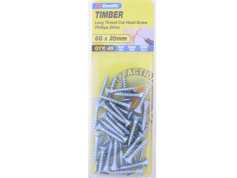Zenith Timber Screws 6G x 20mm Zinc Plated 45 Pack