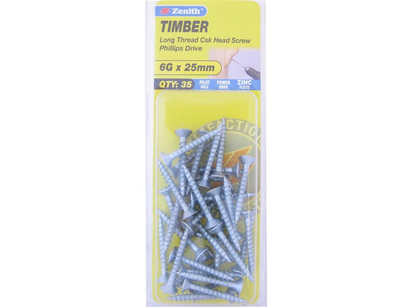 Zenith Timber Screws 6G x 25mm Zinc Plated 35 Pack