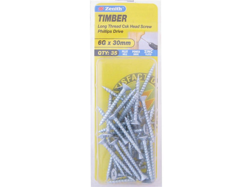 Zenith Timber Screws 6G x 30mm Zinc Plated 35 Pack