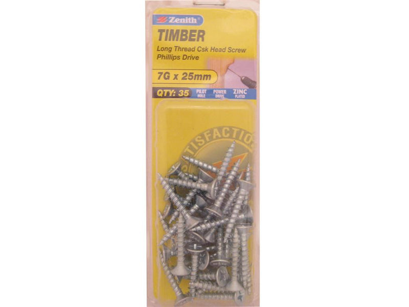 Zenith Timber Screws 7G x 25mm Zinc Plated 35 Pack