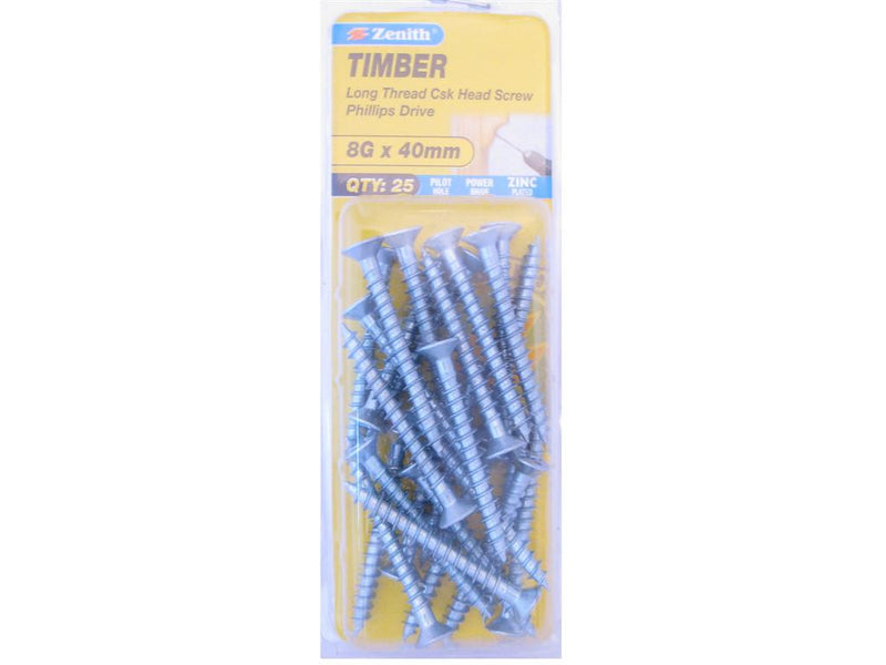 Zenith Timber Screws 8G x 40mm Zinc Plated 25 pack