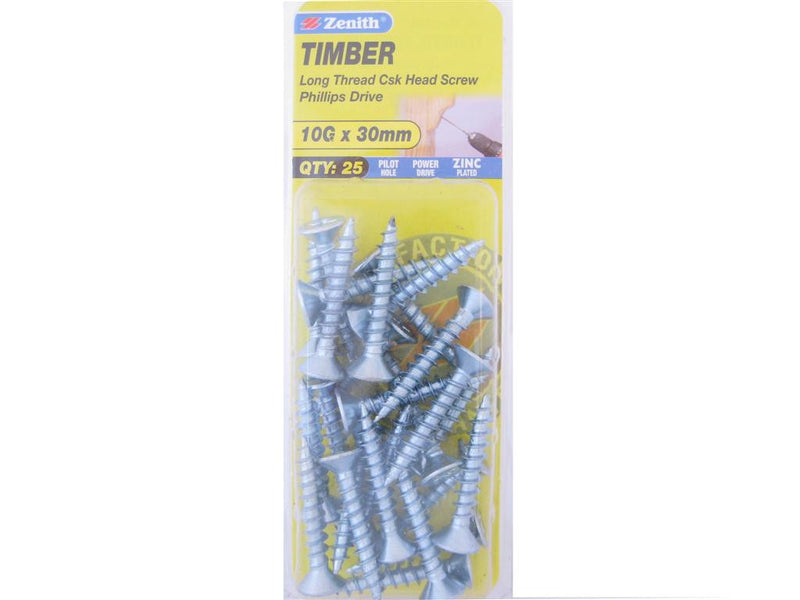 Zenith Timber Screws 10G x 30mm Zinc Plated 25 Pack
