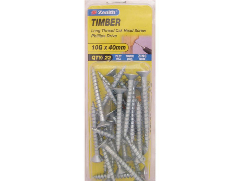 Zenith Timber Screws 10G x 40mm Zinc Plated 22 Pack
