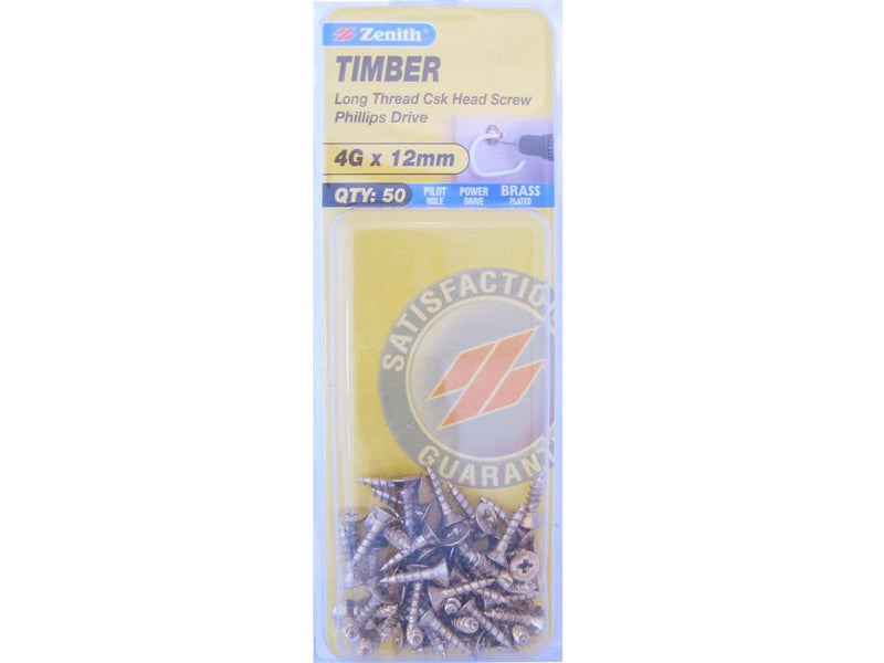 Zenith Timber Screws 4G x 12mm Brass Plated 50 Pack