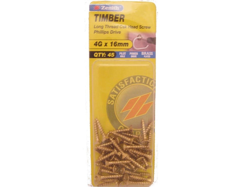 Zenith Timber Screws 4G x 16mm Brass Plated 45 Pack