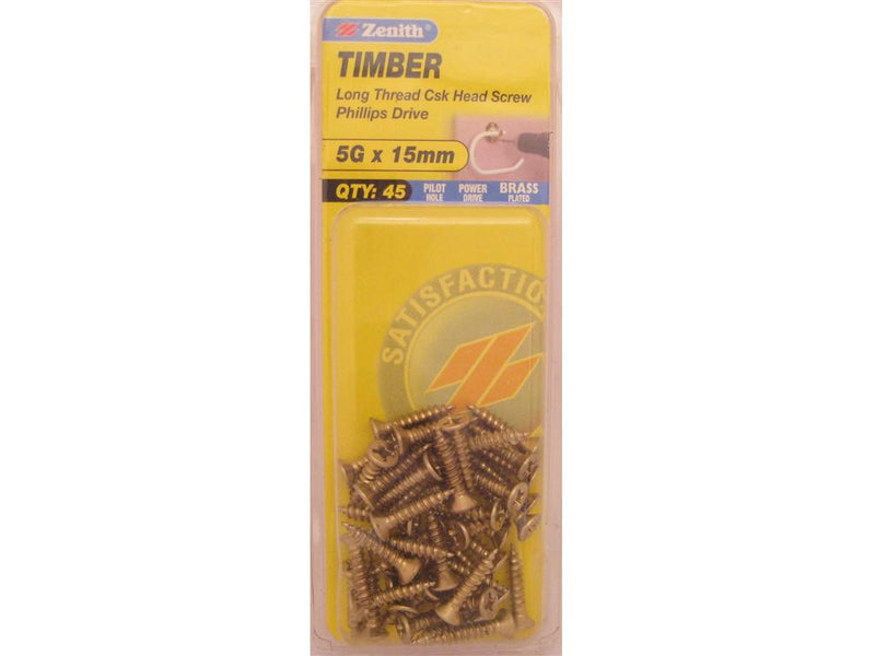 Zenith Timber Screws 5G x 15mm Brass Plated 45 Pack